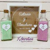 Ritual de arena con diseño personalizado y arenas de colores. Visita nuestra web 🎁 www.kekositas.com #ritual #ritualarena #ritualbodas #regalo #bodas2020 #diseñopersonalizado