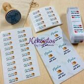 Especialistas en Etiquetas personalizadas, textiles, termoadhesivas, pegatinas, sellos, tarjetería... www.kekositas.com #etiquetas #tarjetas #etiquetatextil #etiquetaspersonalizadas #kekositas